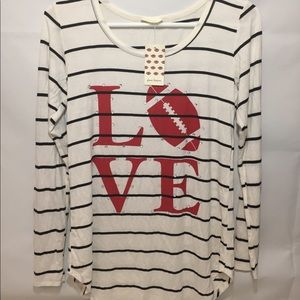 Woman's Love Football Shirt ( Free Kisses Size S )